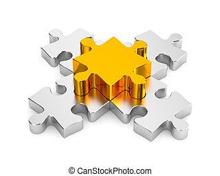 Important part Puzzles metaphor - Image contain clipping...