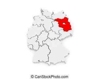 Map of Brandenburg. Germany. 3d