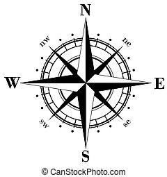 Compass Rose - Black compass rose  isolated on whte. Raster