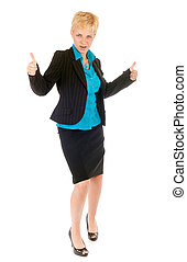 business woman success - blond business woman celebrate her...