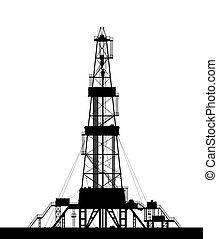 Oil rig silhouette isolated on white background - Oil rig...