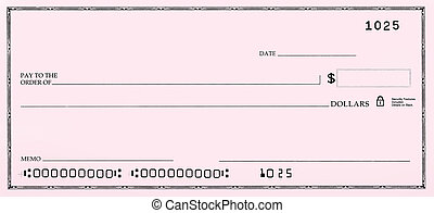 Blank Check with False Numbers - Blank pink check with fake...