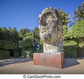 Sculpture of head in Boboli Gardens, Florence