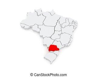 Map of Parana. Brazil. 3d