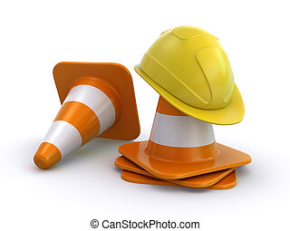 hard hat and traffic cones - Yellow construction helmet with...