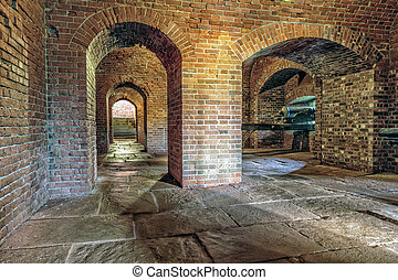tijolo, subterrâneo, artilharia, túnel