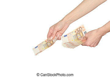Woman pays or giving cash Euro banknotes money female hands...