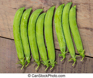 Group of fresh green pea pods