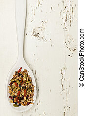 Homemade granola in spoon - Homemade granola with various...