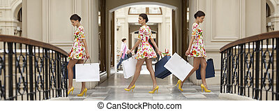 Collage three shopping women - Three young women in white...