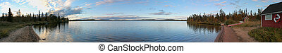 Small Beach In Norrbotten - Panoramic view of a small beach...