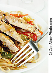 Grilled Chicken on Udon Noodles with Vegetables - Grilled...