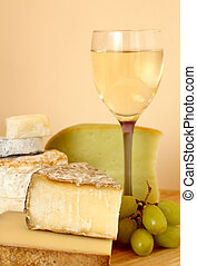 Wine, cheese and grapes - Composition with french wine,...