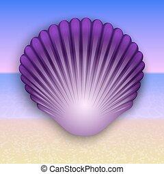 Vector purple shell illustration on the summer sea beach