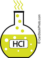 Laboratory glass with hydrochloric acid on white background...