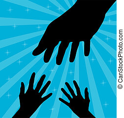Helping hand on the blue background