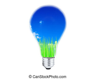 light bulb with grass and sky inside