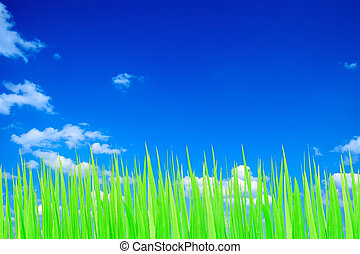 Green and blue sky