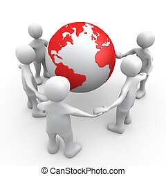 People Of The World - 3D People Holding Hands Around A Globe...