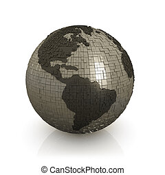 Globe Made Of Cubes - Computer Generated Image - Globe Made...