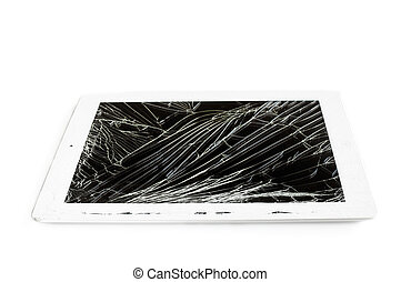 tablet computer with broken glass screen isolated on white...