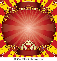 Circus square red and yellow - a circus vintage greeting...