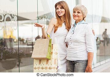 adulte, mère, fille, après, achats, fond,...