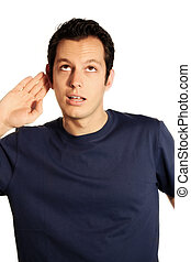 hearing man - a young, attractive and happy business man is...