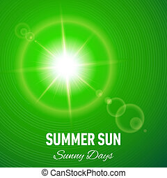 Sunny background - Green summer background with glaring sun...