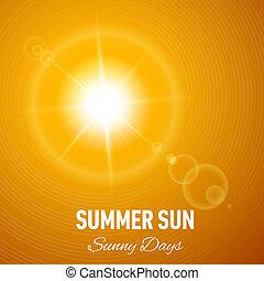 Sunny background - Orange summer background with glaring sun...