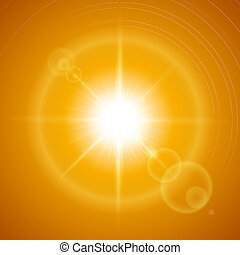 Sunny background - Glaring sun with lens flare over orange...