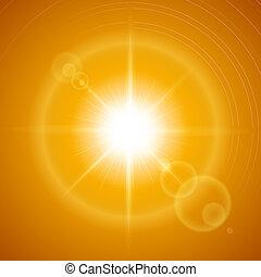 Sunny background - Glaring sun with lens flare over orange...