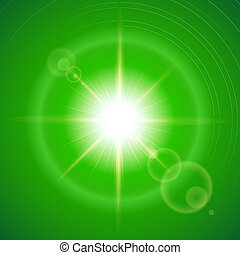 Sunny background - Glaring sun with lens flare over green...