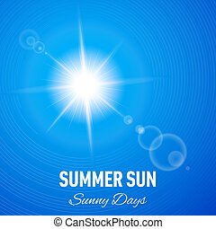Sunny background - Blue summer background with glaring sun...