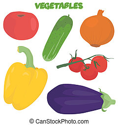 Cartoon vegetable set - Hand drawn vegetable set isolated on...