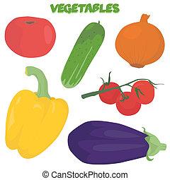 Cartoon vegetable set - Hand drawn vegetable set isolated on...