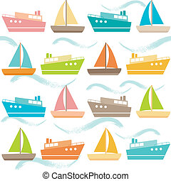 Seamless pattern with ships and waves