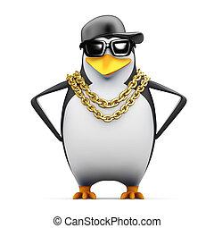 3d Rapper penguin hands on hips - 3d render of a penguin...