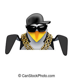 3d Rapper penguin looks over the top - 3d render of a...