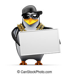 3d Rapper penguin holds a banner - 3d render of a penguin...