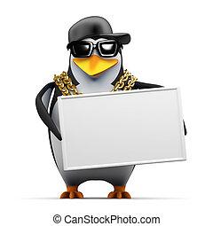 3d Rapper penguin holds a banner - 3d render of a penguin...