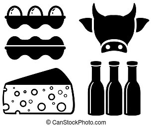 set food icon for milk production - set black isolated food...