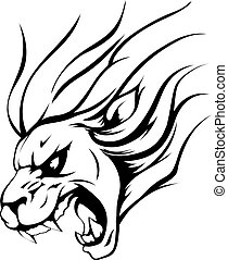Lion mascot - An illustration of a strong angry lion mascot...