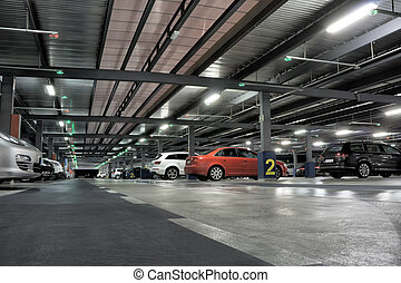 Parking Garage - Airport or Underground Parking Garage with...