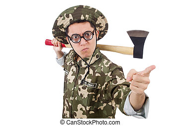 Funny soldier with the axe isolated on white