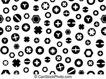 Seamless screw heads background isolated on white
