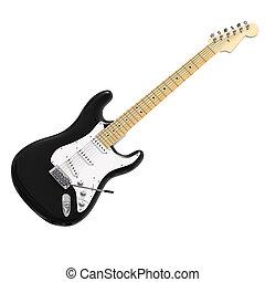 3d Black electric guitar