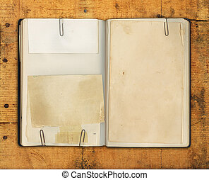 Blank Vintage Book on Weathered Wood - Old blank book on...