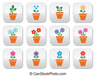 Flower, plant in pot vector colorfu - Nature icons - one,...