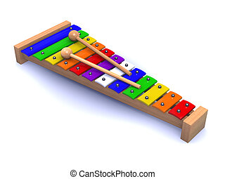 3d Rainbow xylophone - 3d render of a xylophone